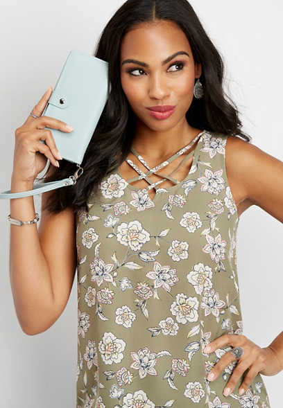 caravan floral lattice neck tank
