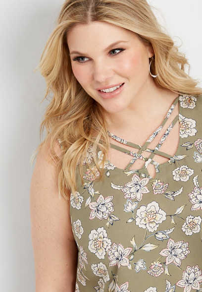 plus size caravan floral lattice neck tank