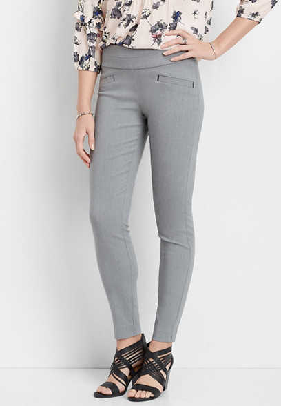 heather gray pull on stretch skinny ankle pant
