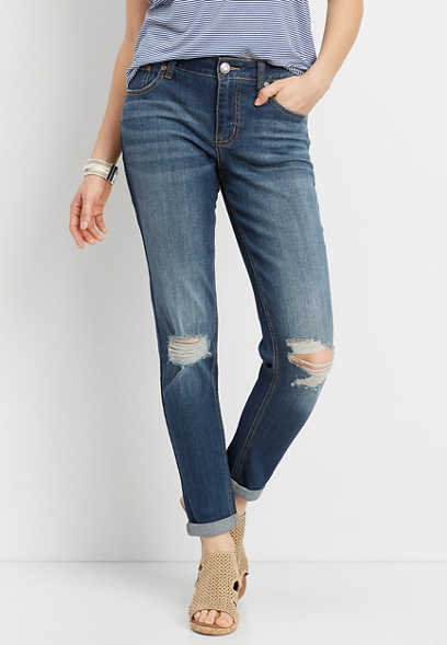 DenimFlex™ dark wash destructed knee boyfriend jean