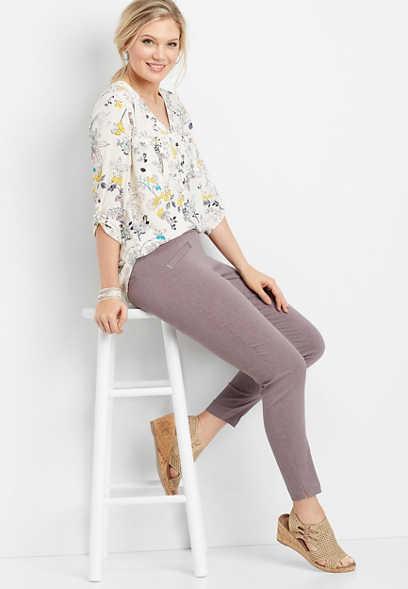 stretch pull on skinny ankle pant