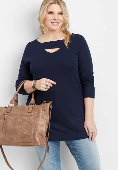 plus size boat neck cut out front sweater