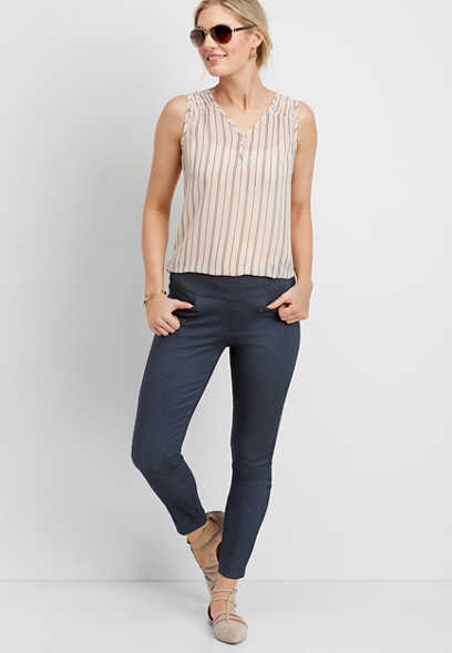 stretch pull-on skinny ankle pant