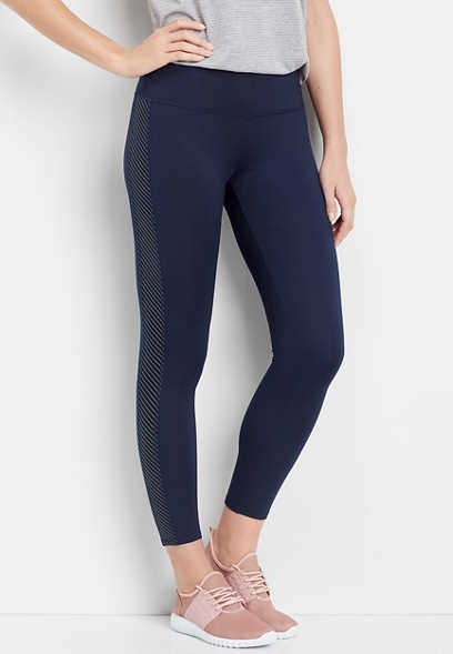navy stripe side panel 7/8 active legging