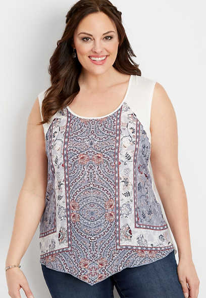 Plus Size Patterned Elevated Front Tank