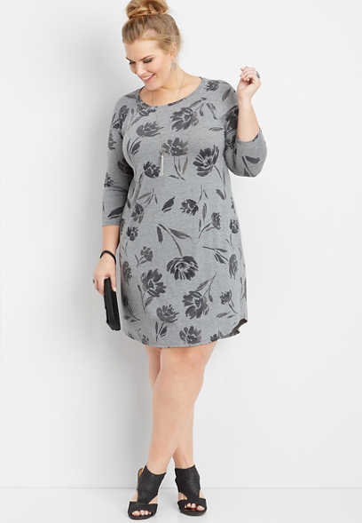 plus size floral watercolor t-shirt dress