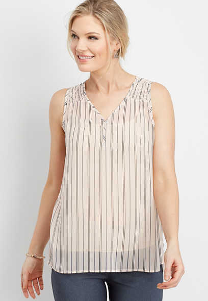 stripe smocked shoulder tank