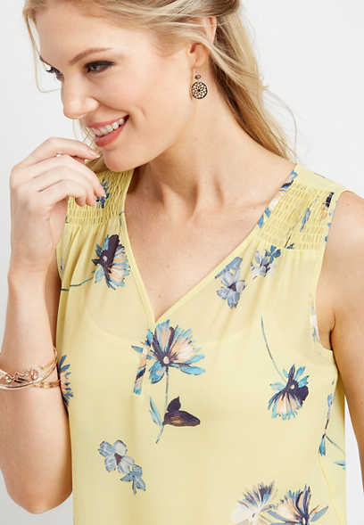 floral smocked shoulder tank