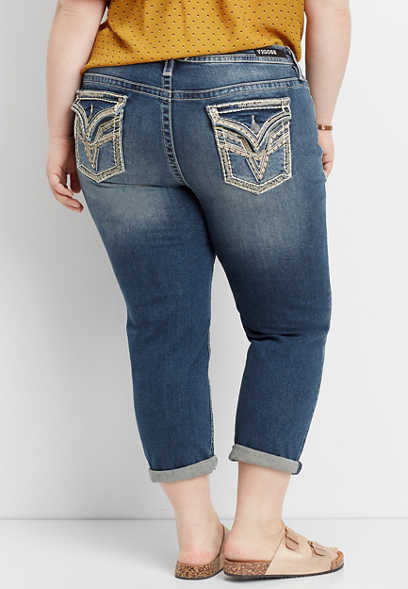plus size Vigoss® thick stitch boyfriend capri