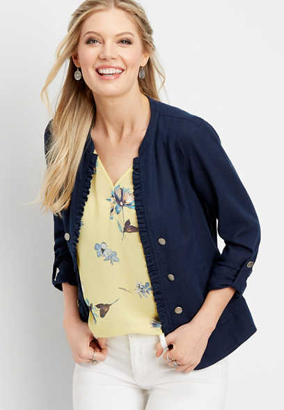linen ruffle military jacket