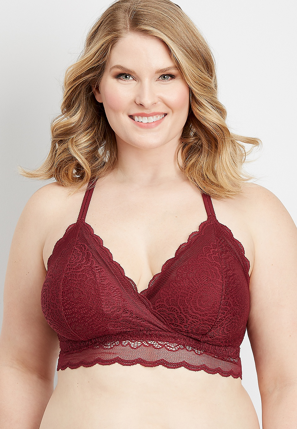 0291651f1 plus size scalloped lace racerback bralette