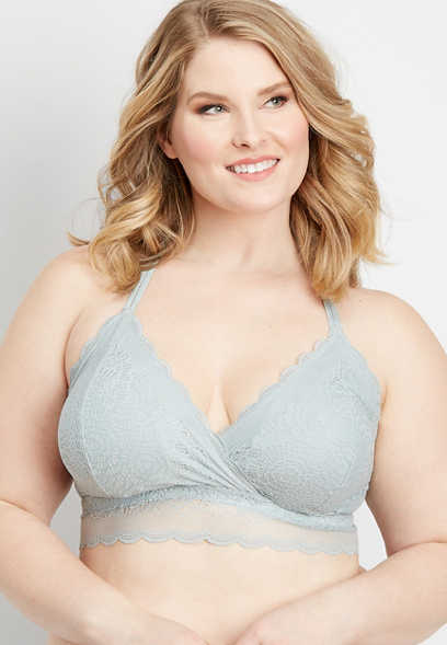 plus size scalloped lace racerback bralette