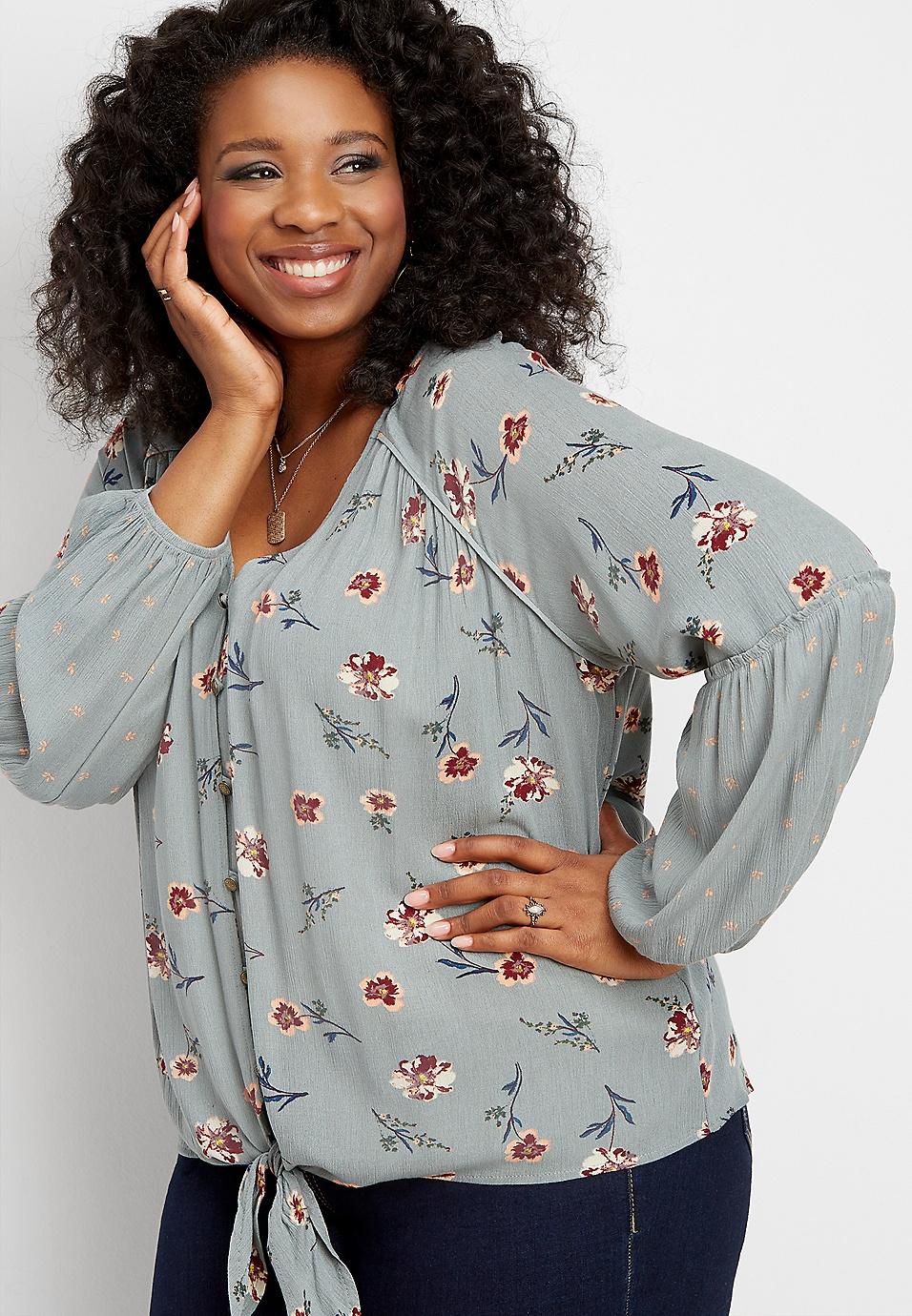 1d335a287d5ce plus size button tie front floral top