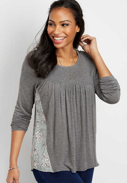 smock yoke woven back top