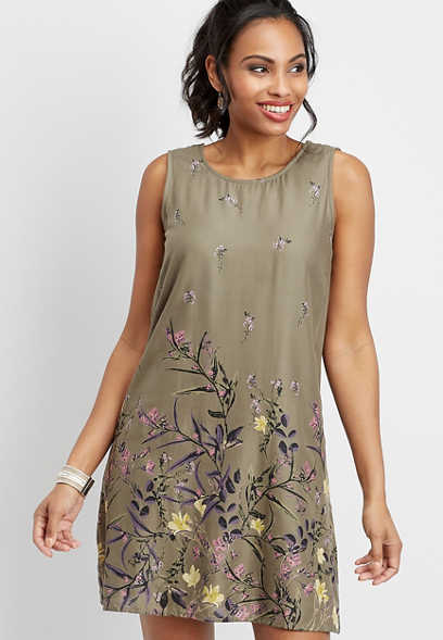 botanical border shift dress