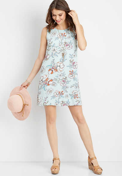 floral lattice shift tank dress