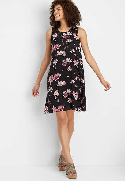 floral scoop neck tank dress