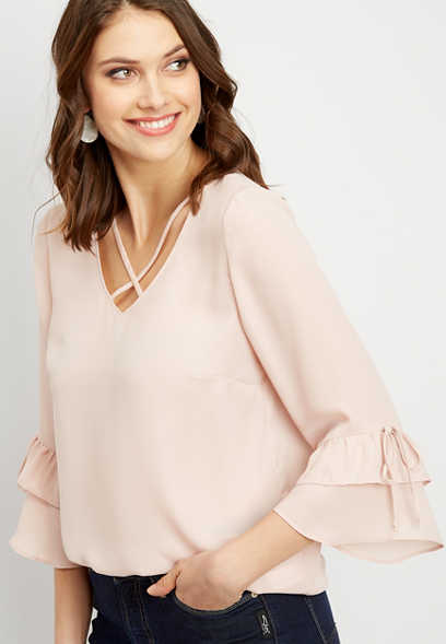 lattice neck bell sleeve blouse