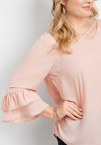 plus size lattice neck bell sleeve blouse