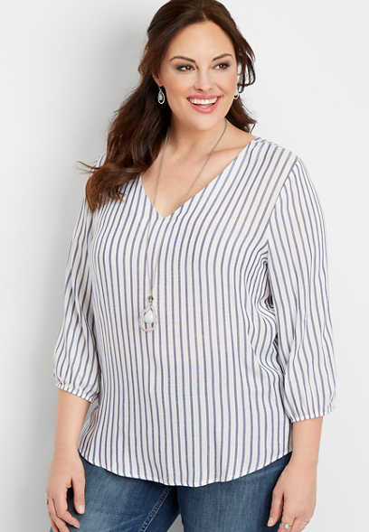 plus size stripe lattice back pullover