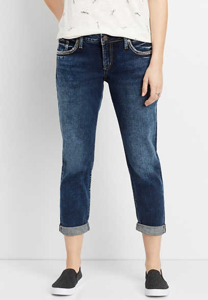 Silver Jeans Co.® Sam dark boyfriend cropped jean