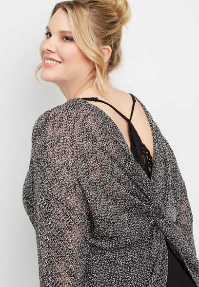 plus size twist back lace top