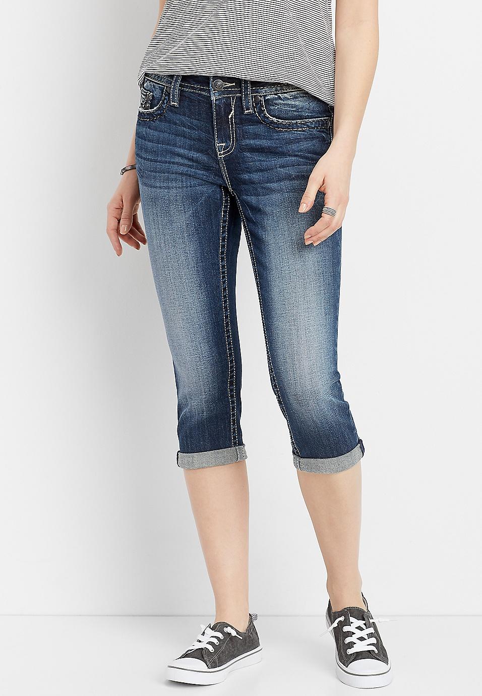 0eac7d9796f Vigoss® dark embellished flap pocket capri