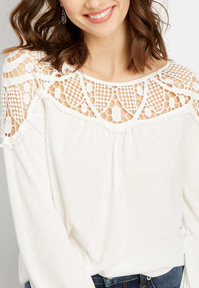 crocheted knit peasant top
