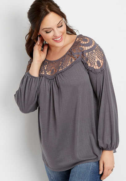 plus size crocheted knit peasant top