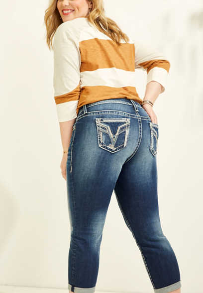plus size Vigoss® reverse denim pocket capri