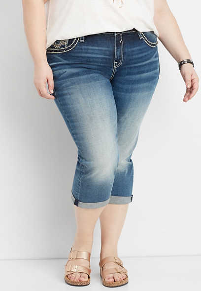 plus size Vigoss® rose gold pocket capri