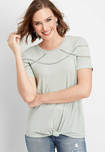 lace inset scoop neck tee