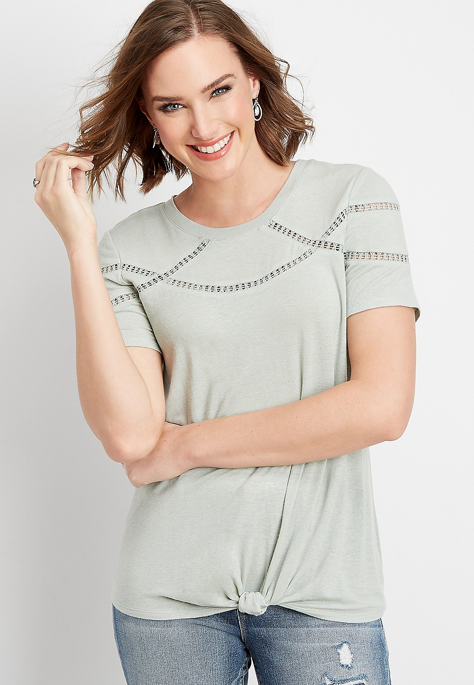 075d8e7428a lace inset scoop neck tee