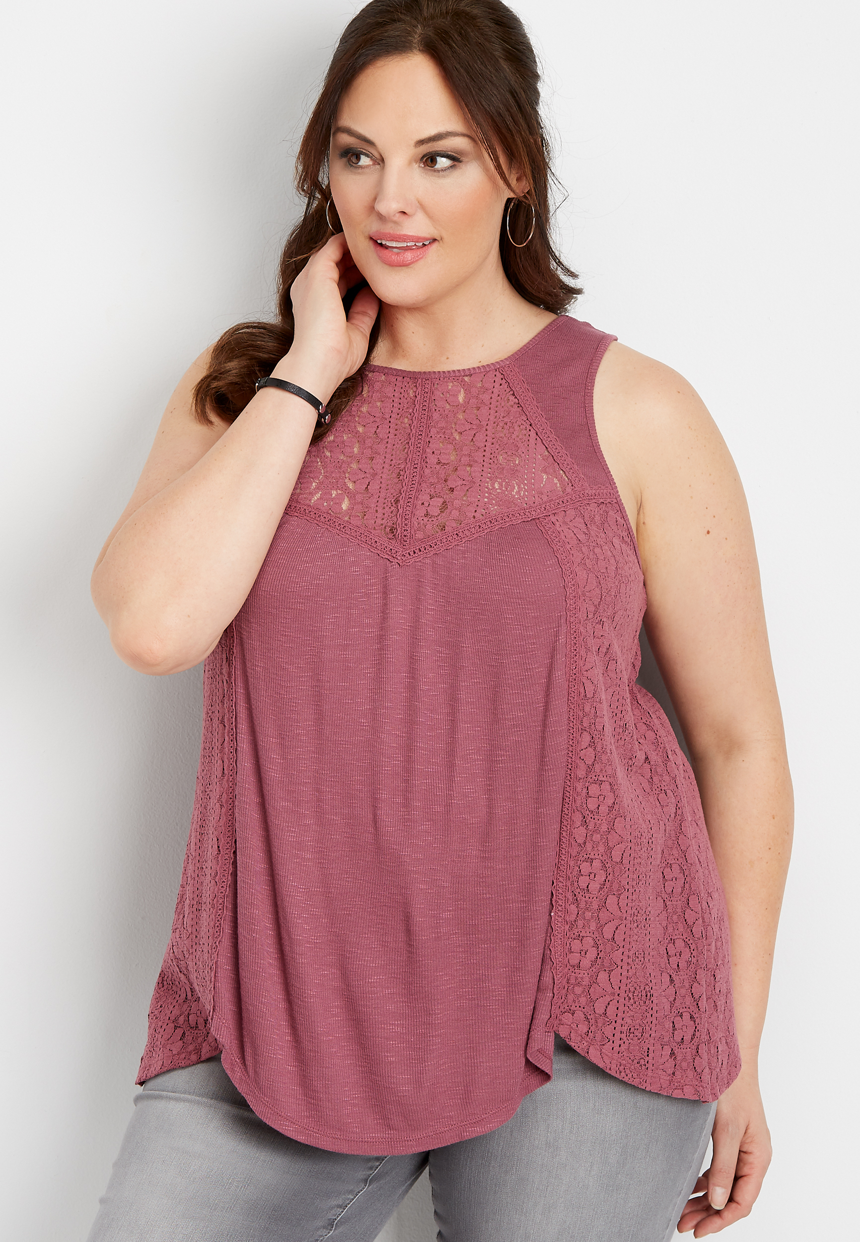 Plus Size Lace Pieced Tank by Maurices