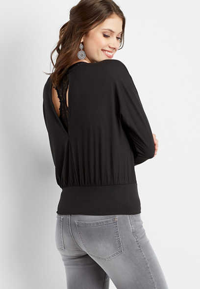 banded bottom open back pullover