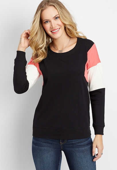 colorblock sleeve basic sweatshirt