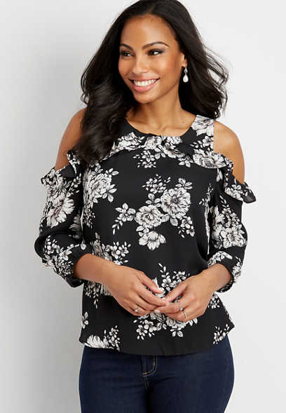 floral cold shoulder woven top