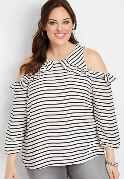 c029461aceb7f0 plus size ruffled stripe cold shoulder top