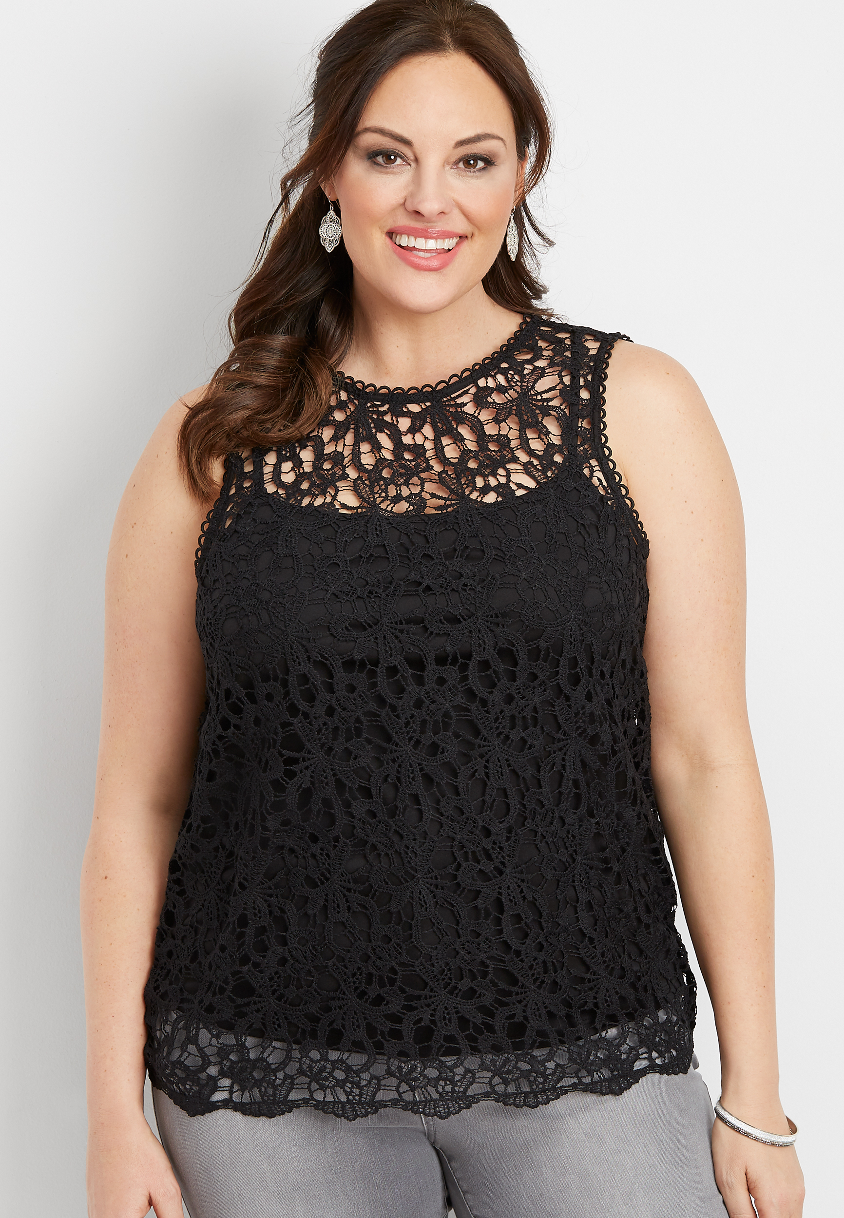Plus Size All Over Lace Tank by Maurices