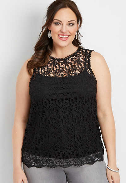 plus size all over lace tank