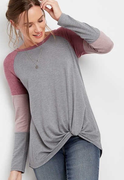 24/7 colorblock sleeve knot front tee
