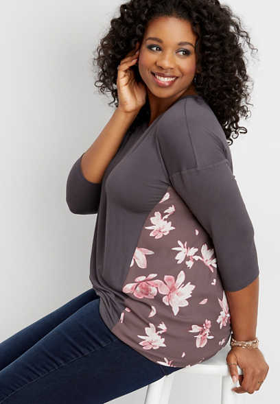 plus size floral side 3/4 sleeve top