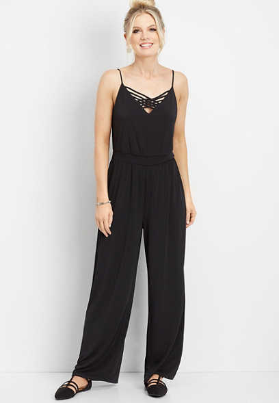 solid lattice neck jumpsuit