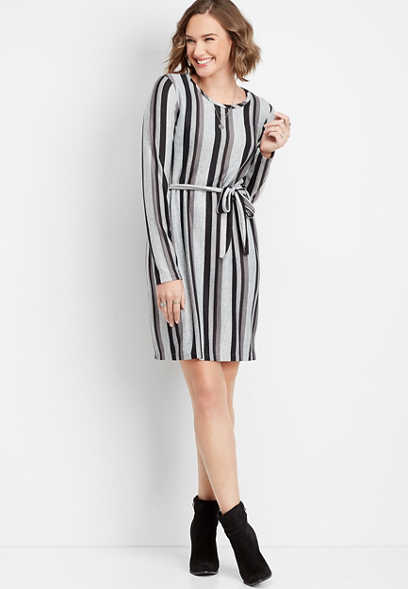 tie front stripe print dress