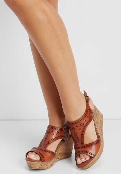 3857a322b2b5 Emma laser cut cork wedge