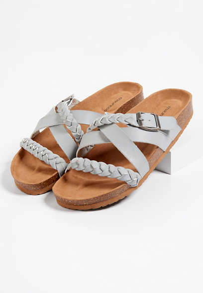 Ariel multi strap braided footbed sandal