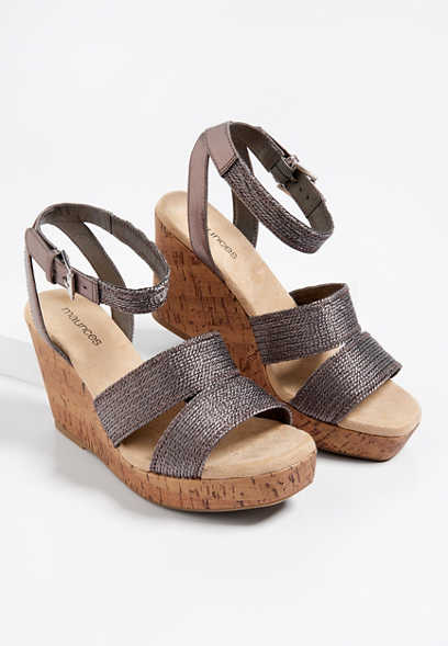 Edee shimmer cork wedge