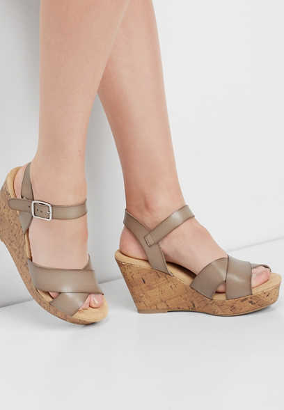 Elsa criss cross cork wedge