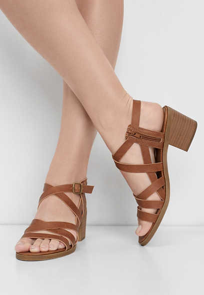 Elora multi strap side zip heel