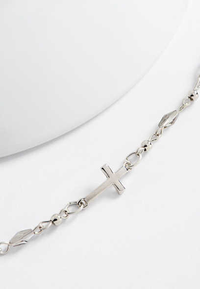 beaded side cross dainty necklace